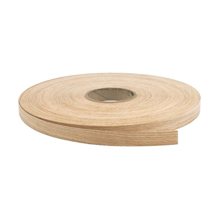 "1"" Wide Red Oak Finish Pre-Glued Iron On Tape 250' Coil"