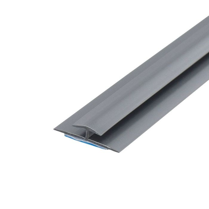 1/8in Silver Rigid PVC | Divider Moulding With Adhesive | 8ft Length