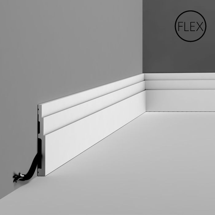 Orac Decor | Flexible Polyurethane Baseboard Moulding | Primed White | 4-3/4in H x 78in Long
