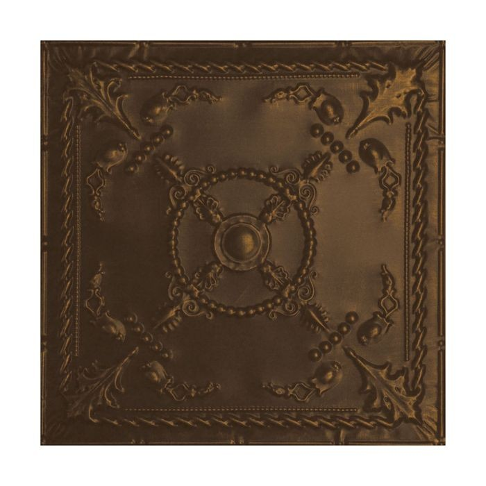 Tin Plated Stamped Steel Ceiling Tile | Lay In | 2ft Sq | Kona Gold Finish