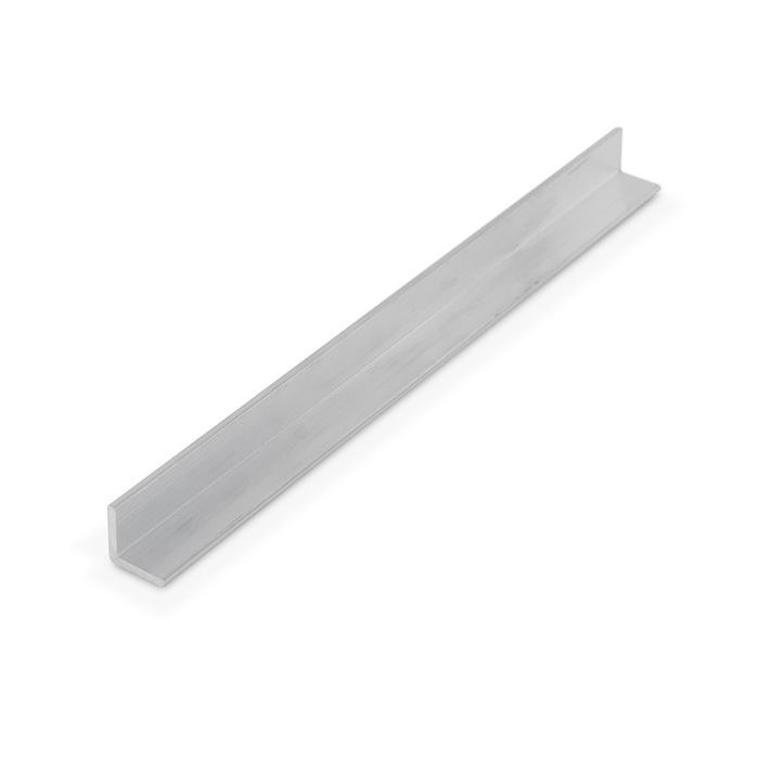 1/2in x 1/2in x 1/16in Thick | Mechanical Polished Finish Aluminum Even Leg | 90° Angle Moulding | 12ft Length