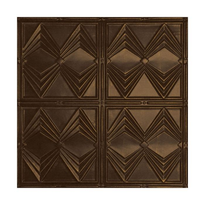 Tin Plated Stamped Steel Ceiling Tile | Nail Up/Glue Up Ceiling Tile | 2ft Sq | Oiled Bronze Finish
