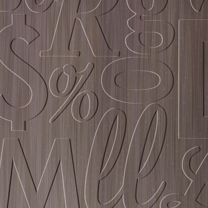 10' Wide x 4' Long Alphabet Soup Pattern Bronze Strata Finish Thermoplastic Flexlam Wall Panel
