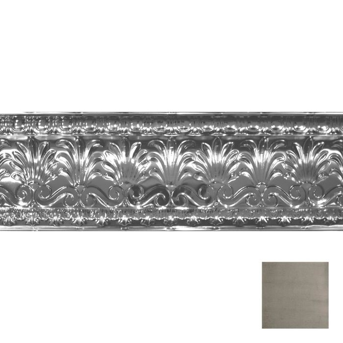 Tin Plated Stamped Steel Cornice | 10-1/2in H x 10-1/2in Proj | Copper Verde Finish | 4ft Long