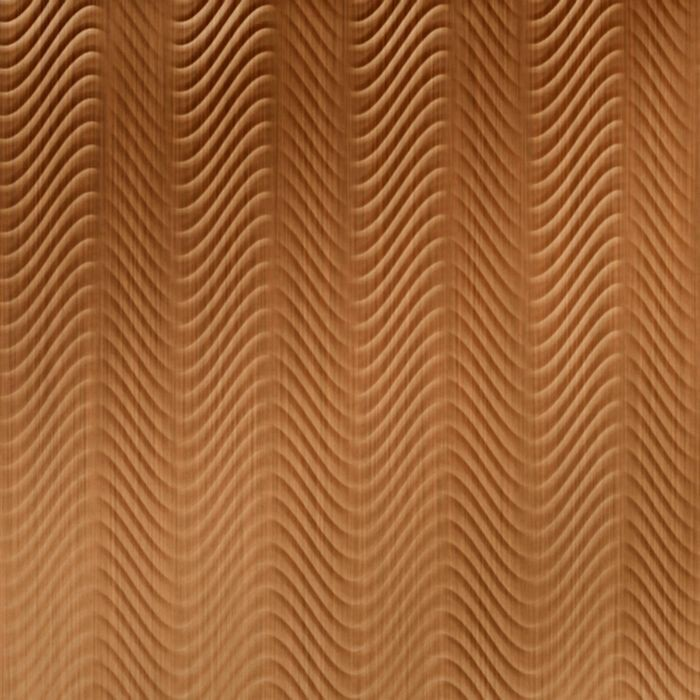 FlexLam 3D Wall Panel | 4ft W x 10ft H | Curves Pattern | Brushed Copper Finish