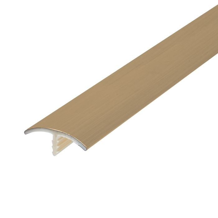 "1"" Brushed Brass Flexible PVC Metallic Tee Moulding 250' Coil"