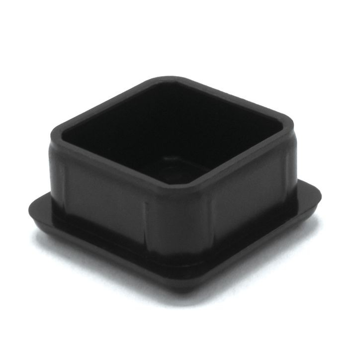 "1"" Square 16 Gauge Black Matte Finish ABS Plastic Inside End Cap for Tubing"