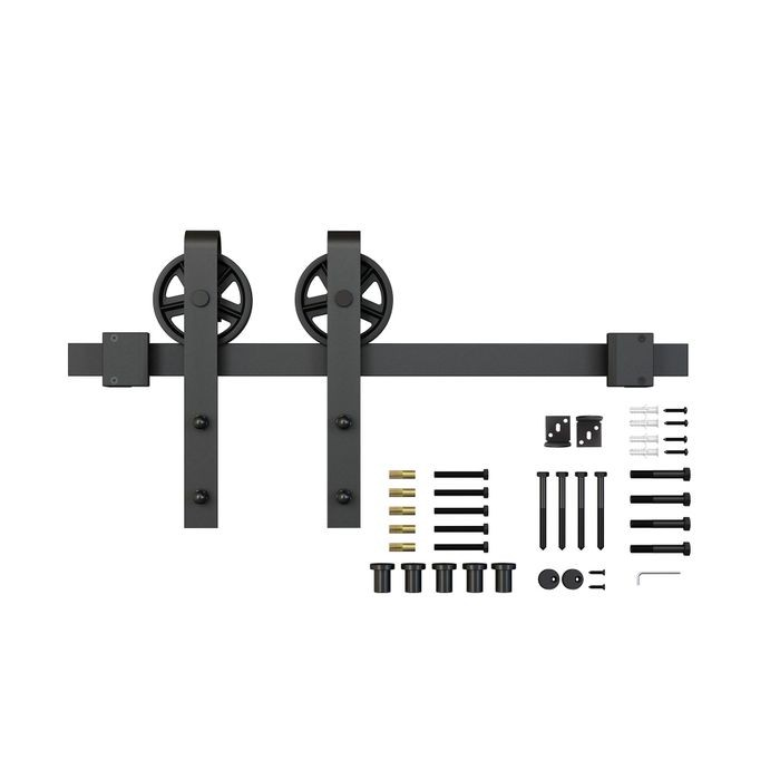 Sliding Barn Door Hardware Kits for Single Wood Doors Up to 39in W | Black Powder Coated Finish | Non Routed | 78-3/4in Rail Length | SW4IND Series