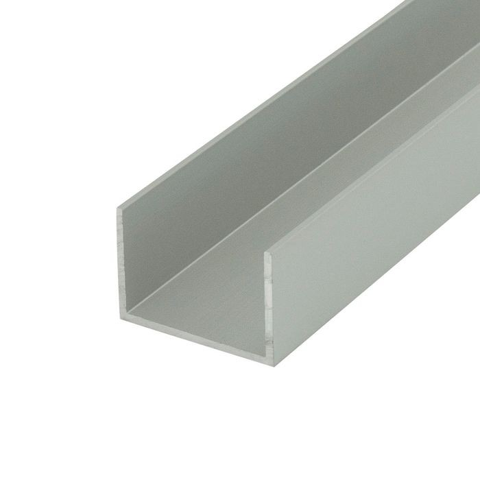 "1"" Clear Anodized (Satin) Finish Aluminum U Channel Moulding 12' Length"