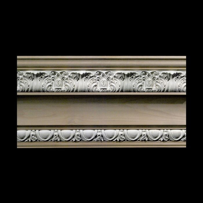 "Face x 5-1/2"" High x 5-1/2"" Projection Unfinished Maple Hardwood/Polymer Resin 440-C Series Composite Wood Crown Moulding"