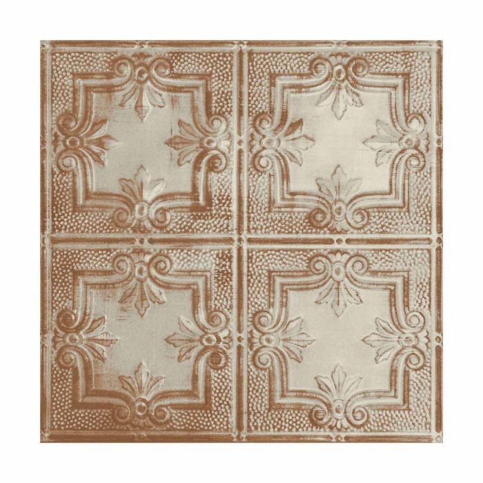 Tin Plated Stamped Steel Ceiling Tile | Lay In | 2ft Sq | Old Lace Finish