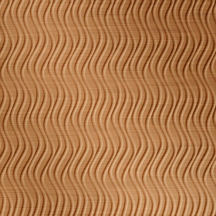 10' Wide x 4' Long Wavation Pattern Brushed Copper Vertical Finish Thermoplastic Flexlam Wall Panel