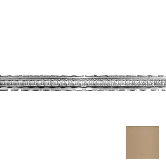 Tin Plated Stamped Steel Cornice | 2-1/2in H x 2-1/2in Proj | Warm White Finish | 4ft Long
