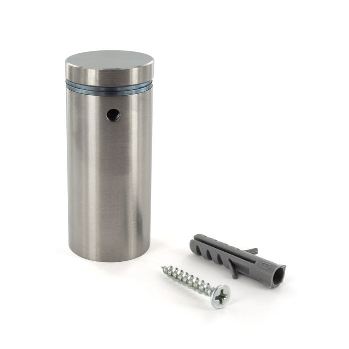 "1"" Diameter x 2"" Barrel Length Brushed Stainless Finish Eco Lock Series Tamper Proof Standoff"