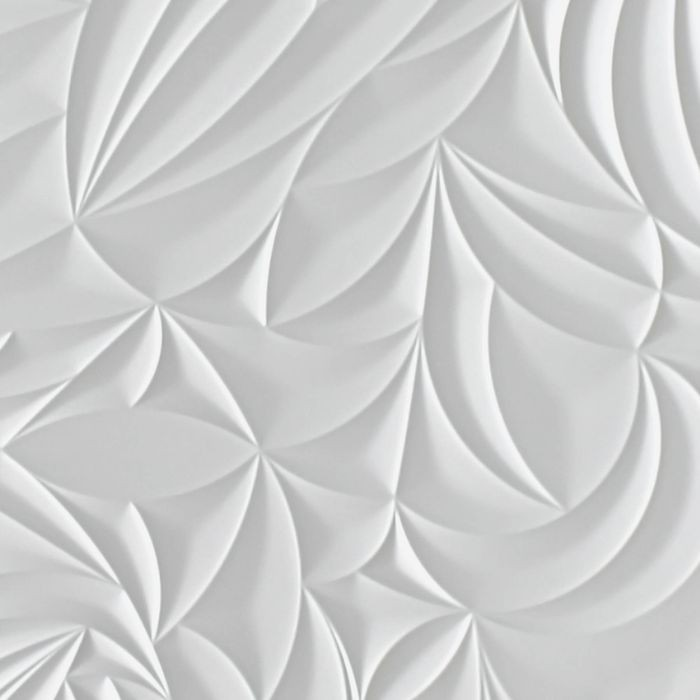 10' Wide x 4' Long Sculpted Petals Pattern White Finish Thermoplastic Flexlam Wall Panel