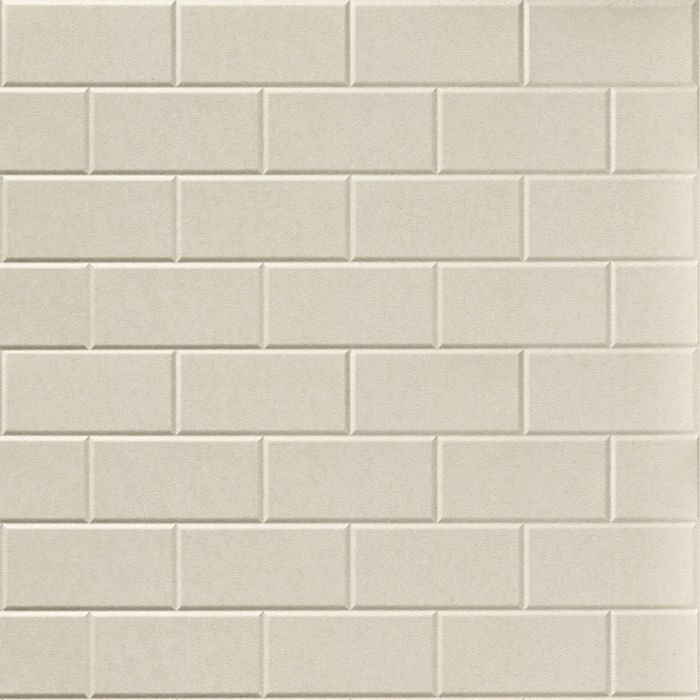 10' Wide x 4' Long Subway Tile Pattern Winter White Finish Thermoplastic Flexlam Wall Panel