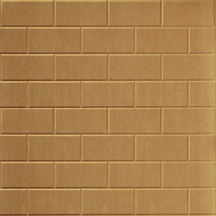 10' Wide x 4' Long Subway Tile Pattern Light Maple Finish Thermoplastic FlexLam Wall Panel