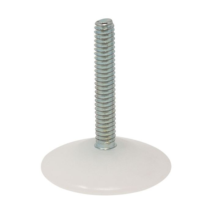 1/4-20 x 1-1/2in Long Stem | 19/64in H White HDPE Base | Large Flat Plastic Base Leveler