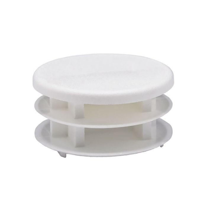 1-1/2in Dia | 14 - 23 Gauge | White Matte Finish Textured Low Density Polyethylene | Plastic Universal Gauge Inside End Cap for Tubing