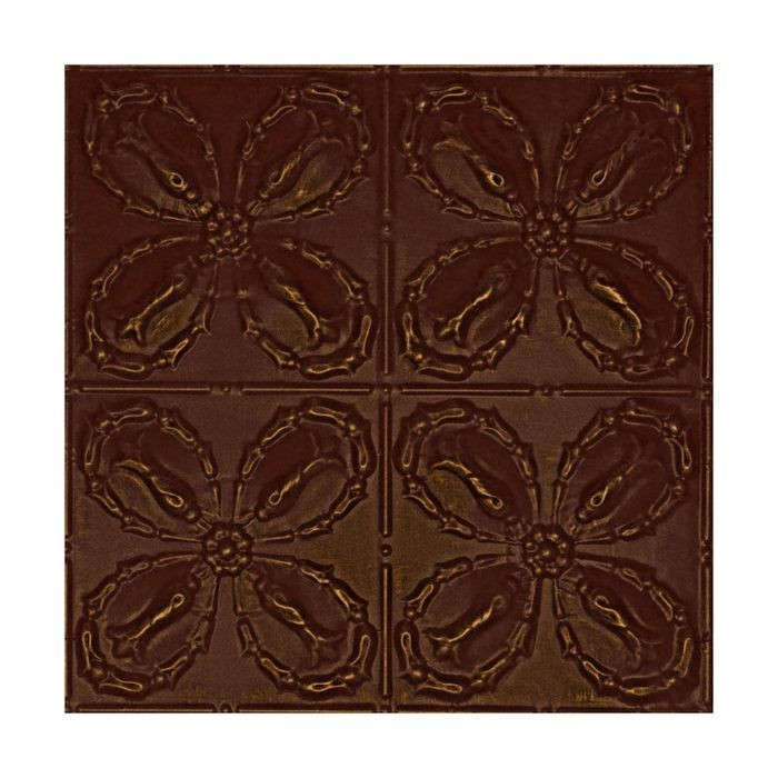 Tin Plated Stamped Steel Ceiling Tile | Nail Up/Glue Up Ceiling Tile | 2ft Sq | Antique Marsala Finish