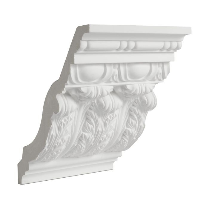 11-1/2in Face x 8-5/16in H x 8in Proj | Primed White Polyurethane | Crown Moulding | 6in Sample Piece