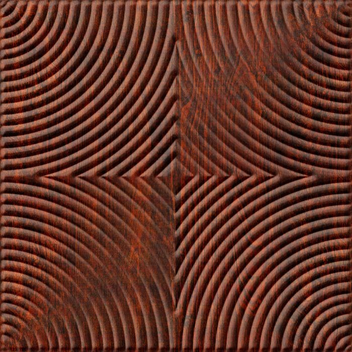 10' Wide x 4' Long Curvation Pattern American Walnut Finish Thermoplastic Flexlam Wall Panel