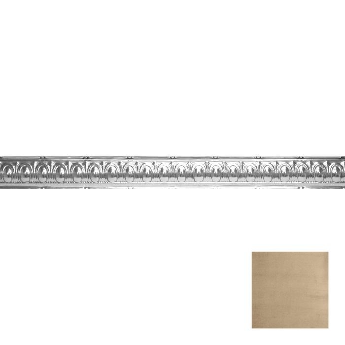 Tin Plated Stamped Steel Cornice | 3-1/2in H x 3-1/2in Proj | Monterey Finish | 4ft Long