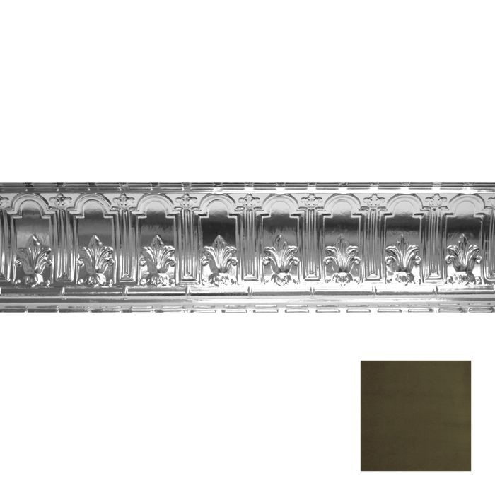 Tin Plated Stamped Steel Cornice | 9-1/2in H x 9-1/2in Proj | Antique Sage Finish | 4ft Long