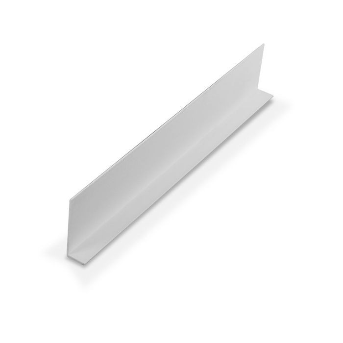 1-1/4in x 3/8in x 3/64in (.040in) Thick | White Styrene Uneven Leg | 90° Angle Moulding | 12ft Length