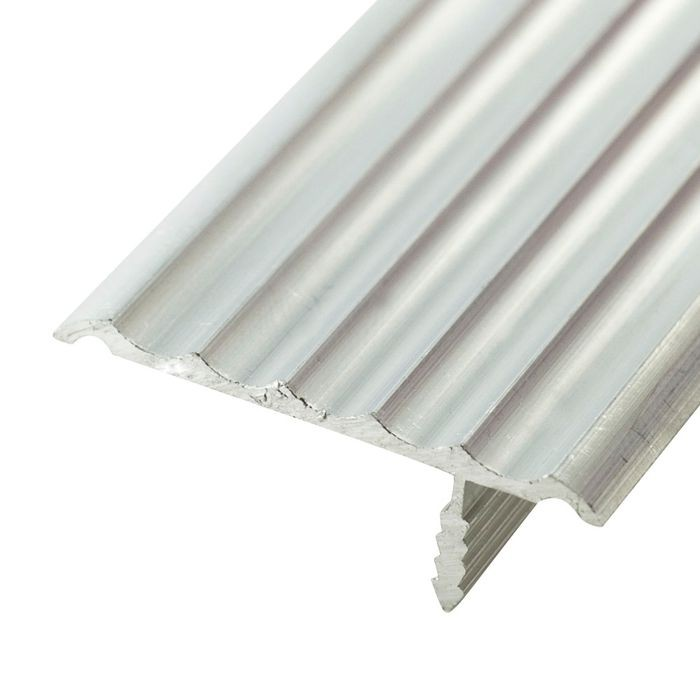 1-1/2in Mill Finish | Rigid Aluminium | Offset Barb Rippled Tee Moulding | 12ft Length
