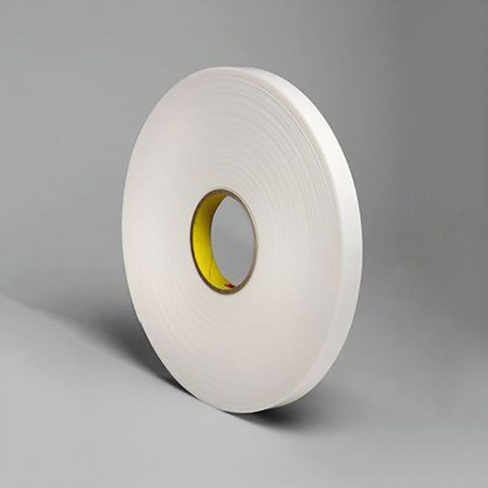 "1"" Wide x .060"" Thick White Rubber Based Foam Tape 108' Long Roll"