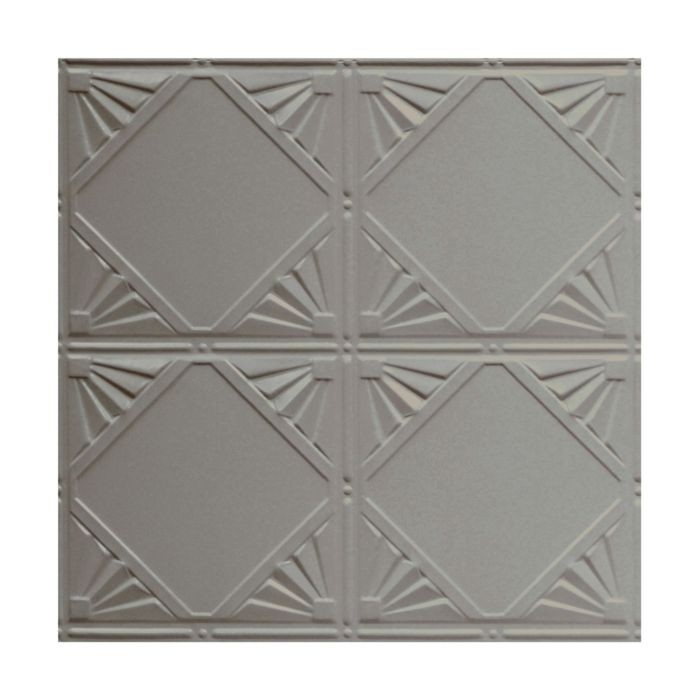 Tin Plated Stamped Steel Ceiling Tile | Nail Up/Glue Up Ceiling Tile | 2ft Sq | Silver Grey Finish
