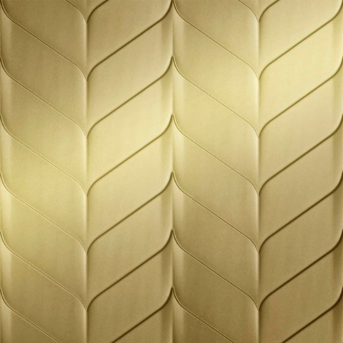 FlexLam 3D Wall Panel | 4ft W x 10ft H | Ariel Pattern | Mirror Gold Finish