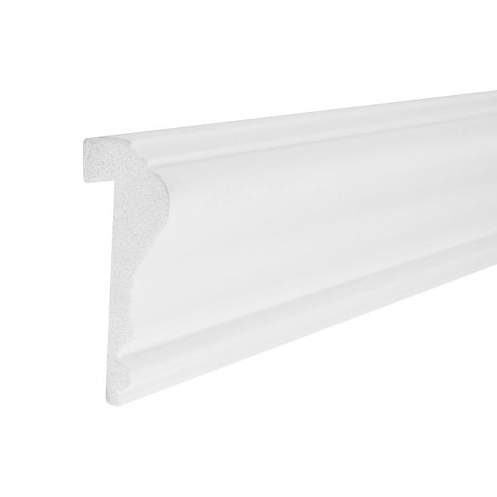 2-5/8in H x 1in Proj | Primed White High Impact Polystyrene | Cap and Backband Moulding | 8ft Long