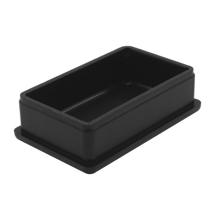 1-1/4in x 2in Rectangular | 16 Gauge Black Matte Finish ABS | Plastic Inside End Cap for Tubing