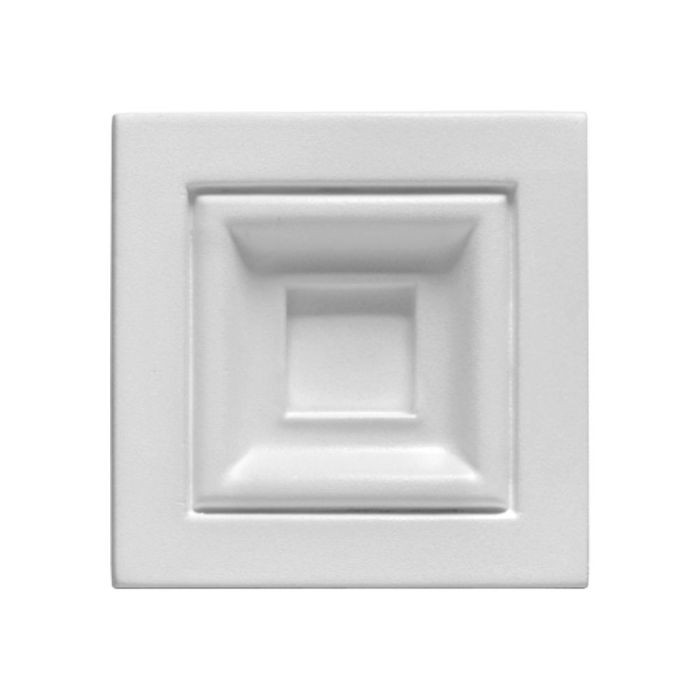 "4-1/4"" Wide x 4-1/4"" High Primed White Polyurethane Rutherford Block Rosette Applique"