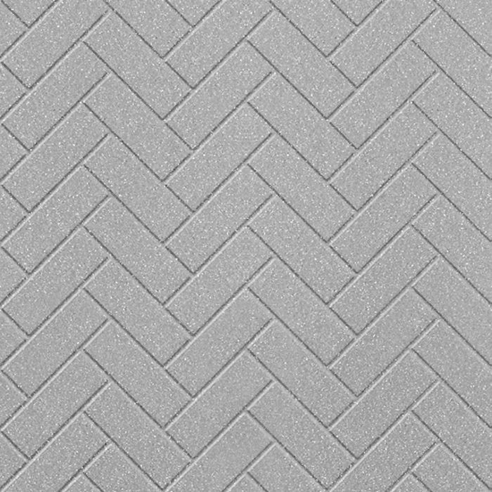 10' Wide x 4' Long Herringbone Pattern Argent Silver Finish Thermoplastic Flexlam Wall Panel