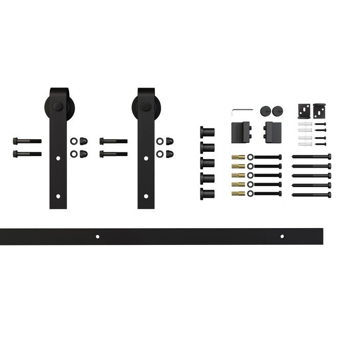 Sliding Barn Door Hardware Kits for Single Wood Doors Up to 39in W | Black Powder Coated Finish | Non Routed | 78in Rail Length | SDH-SW4 Series