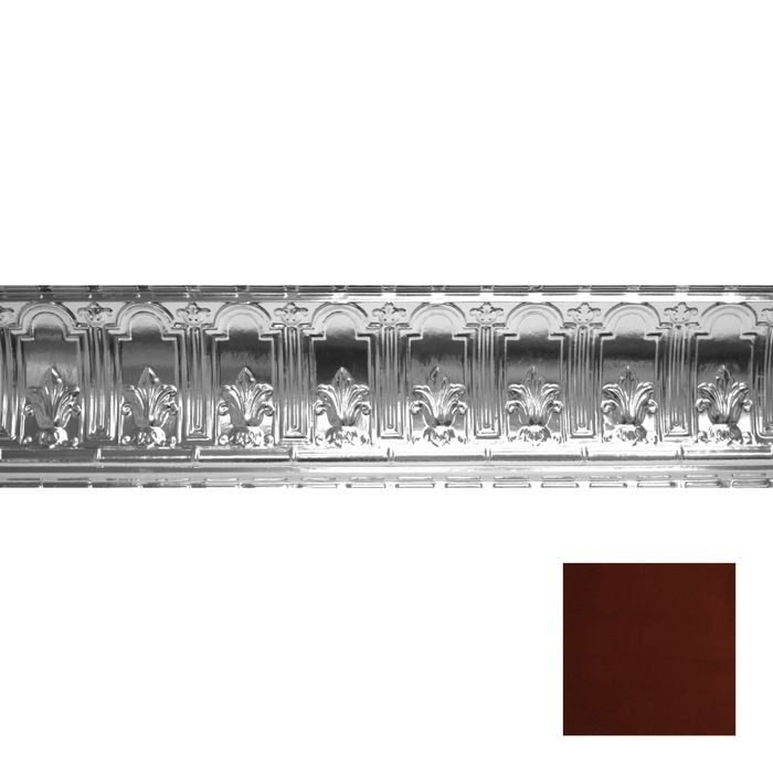 Tin Plated Stamped Steel Cornice | 9-1/2in H x 9-1/2in Proj | Antique Crimson Finish | 4ft Long
