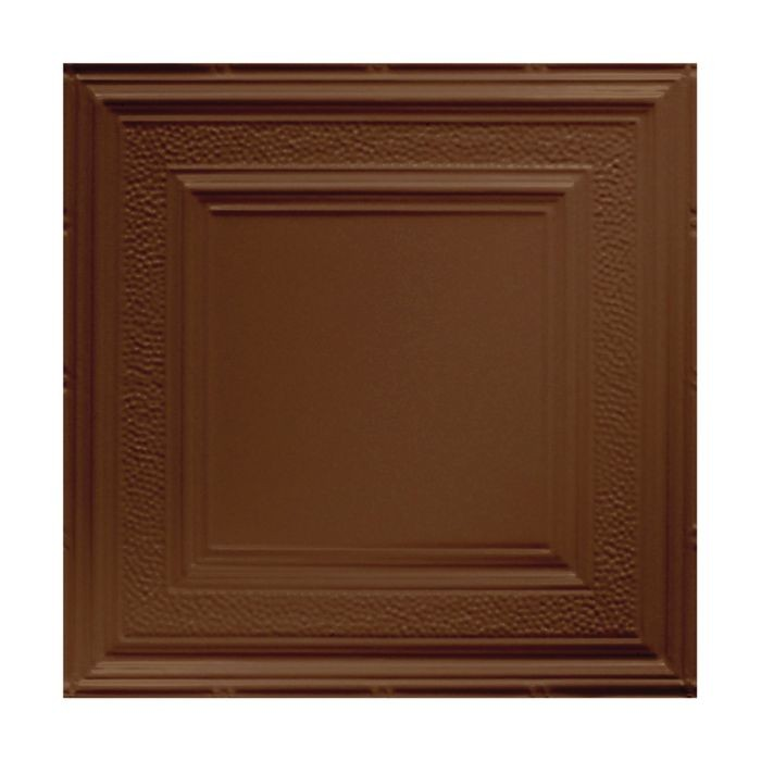 Tin Plated Stamped Steel Ceiling Tile | Lay In | 2ft Sq | Koko Brown Finish