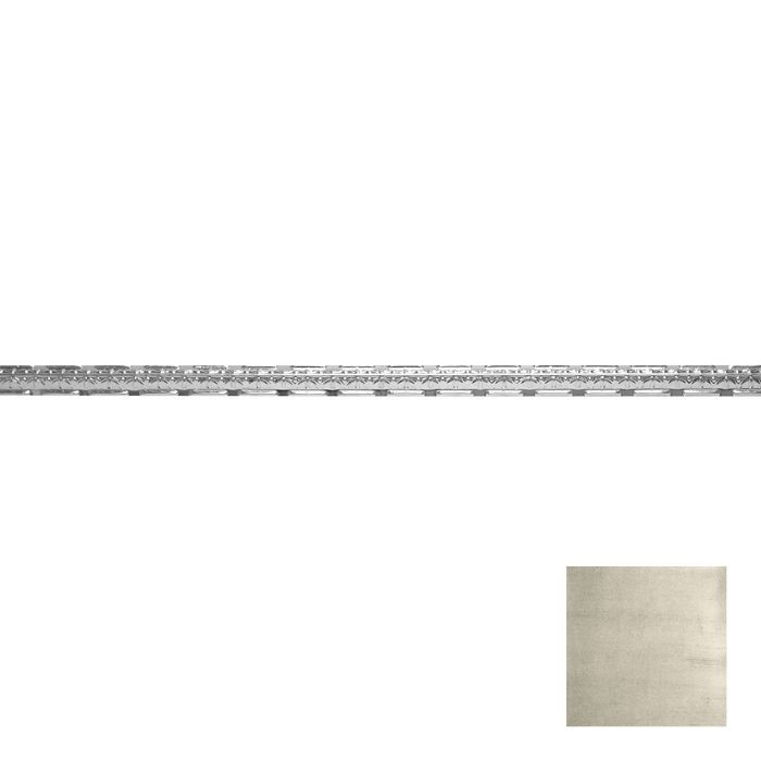 Tin Plated Stamped Steel Cornice | 1-1/2in H x 1-1/2in Proj | Antique White Finish | 4ft Long
