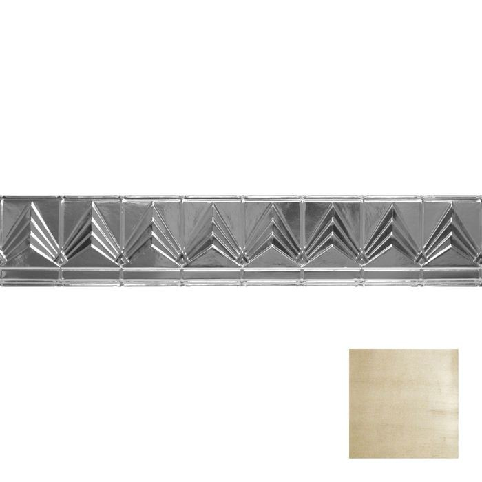 Tin Plated Stamped Steel Cornice | 6in H x 6in Proj | Antique Cream Finish | 4ft Long