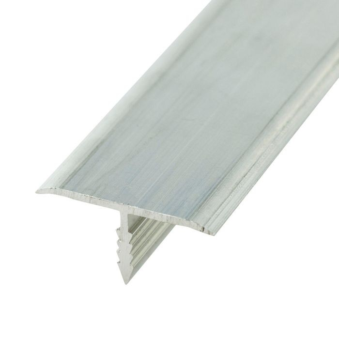 "1"" Clear Anodized (Satin) Finish Flat Aluminum Center Barb Tee Moulding 12' Length"