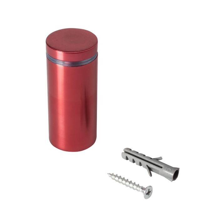 "1"" Diameter x 2"" Barrel Length Cherry Red Aluminum Eco Series Easy Fasten Standoff"
