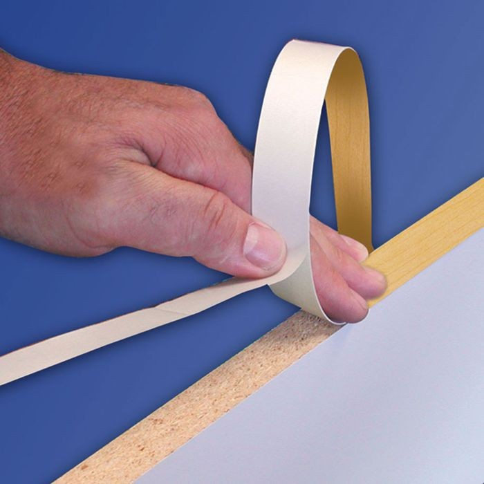 "1-1/4"" Wide Brushed Brass PVC Edgeband with Adhesive 50' Roll"