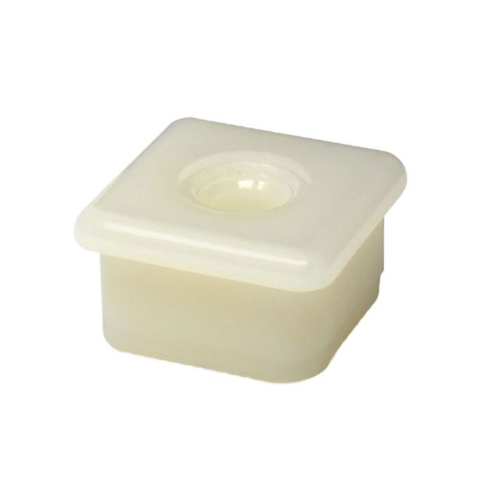 1in Square | 1/4-20 Thread | White Nylon | Plastic Threaded Insert