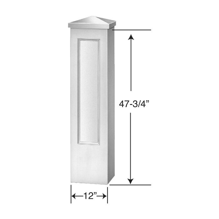 "12"" Wide x 47-3/4"" High Primed White Polyurethane Newel Post"