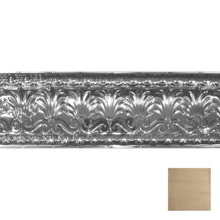 Tin Plated Stamped Steel Cornice | 10-1/2in H x 10-1/2in Proj | Monterey Finish | 4ft Long