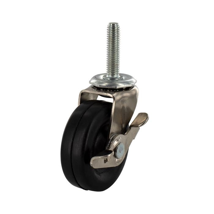 "3"" Diameter Zinc Plated Steel Swivel With Brake Summit Series Industrial Caster with 3/8-16 x 1-1/2"" Threaded Stem"