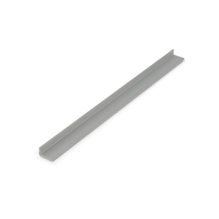 1/4in x 1/2in x 3/64in (.050in) Thick | Clear Anodized (Satin) Finish Aluminum Uneven Leg | 90° Angle Moulding | 12ft Length